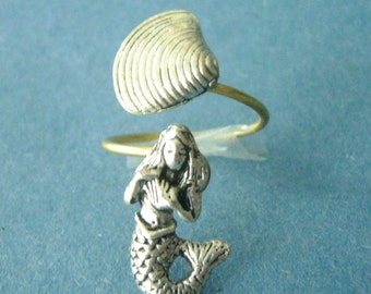 Silver mermaid ring, adjustable ring, animal ring, silver ring, statement ring
