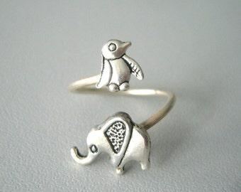 silver penguin elephant ring wrap style, adjustable ring, animal ring, silver ring, statement ring