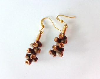 Rustic dangle earrings real tree earrings
