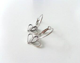 heart silver earrings valentines