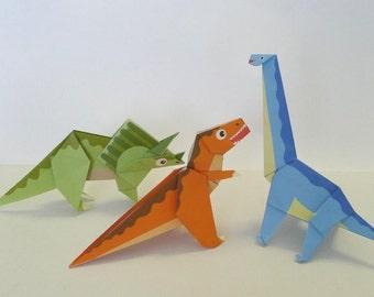 Dinosaur Origami Paper Pack Tyrannosaurus Triceratops And Brachiosaurus
