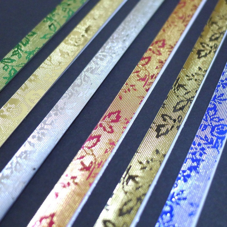 Origami Lucky Star Paper Strips pack of 50 strips Jewel Tone Metallic Embossed English Rose