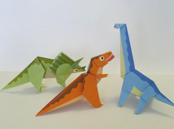 Dinosaur Origami Paper Pack Tyrannosaurus Triceratops And Etsy