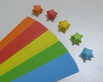Rainbow Shower (5 colors) Origami Lucky Star Paper Strips - packs of 100 strips