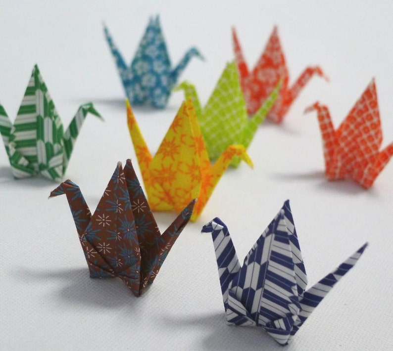 4 pairs of Matching Designs Washi Japanese Origami Paper Cranes Total 8