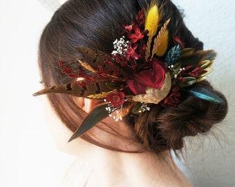 Maroon Burgundy Mustard Yellow Flower Wheat Babies Breath Thistle Hair Clip Headpiece Rustic Fall Wedding Bride Bridal Hairpiece Feather