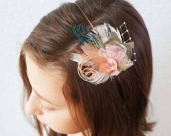 Peacock Feather Blush Flower Headpiece Dusty Pink Gold Ivory Fascinator Wedding Birdcage Veil Bridal Hairpiece Flower Girl Copper Headband