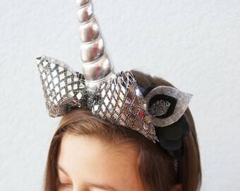 SHIP READY Silver Disco Unicorn Headband Bride Bachelorette Hairpiece Black Flowers Horn Headpiece Party Hat Cake Smash Costume Custom Color