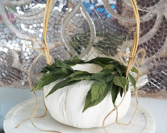 58dead8f363 WHITE PUMPKIN BASKET Rustic Flower Girl Basket Green Leaves Burlap Twine  Bow Autumn Fall Harvest Outdoor Weddings Custom Bridal Colors