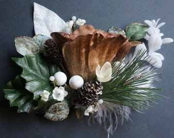 SHIP READY Pinecone Clip Holly Leaf White Berry Snow Glitter Pinetree Bronze Velvet Flower Christmas Winter Wedding Holiday Party Hairpiece