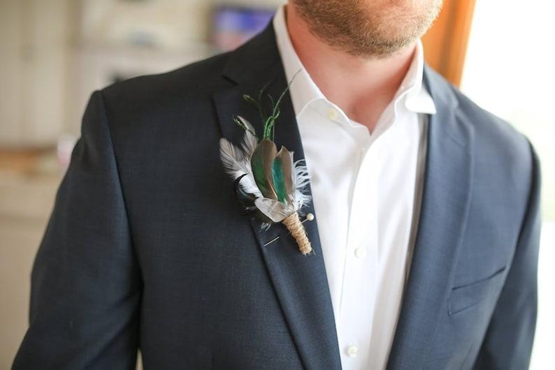 Green Teal Duck Mallard Feather Wristlet Rustic Wrist Corsage Boutonniere Woodland Wedding Hunter Groom Groomsmen Buttonhole Lapel Pin LEO