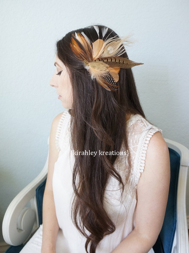 SHIP READY Peach Bronze Burnt Orange Ivory Rustic Peacock Pheasant Feather Fascinator Wedding Bride Hairpiece Vintage Gold Leaf Brooch THEA