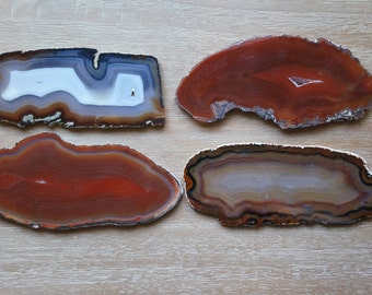 AGATE Coasters Slab Dark Red Burnt Orange Amber Brown Crystal Geode Slice Choose Gold Silver Copper Edges Holiday Wedding Escort Cards
