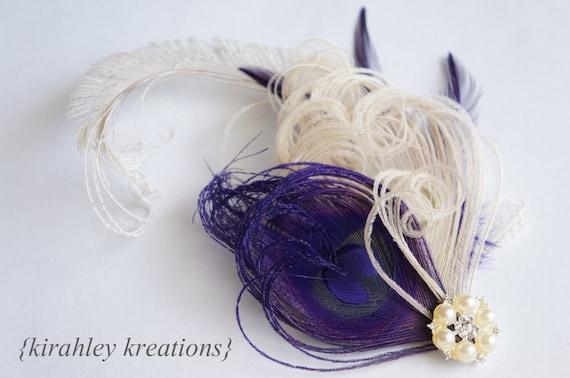 Ivory Eggplant Plum Purple Peacock Feather Hair Clip Wedding Bridal Bride Great Gatsby Fascinator Headpiece CELESTE Rhinestone Hairpiece