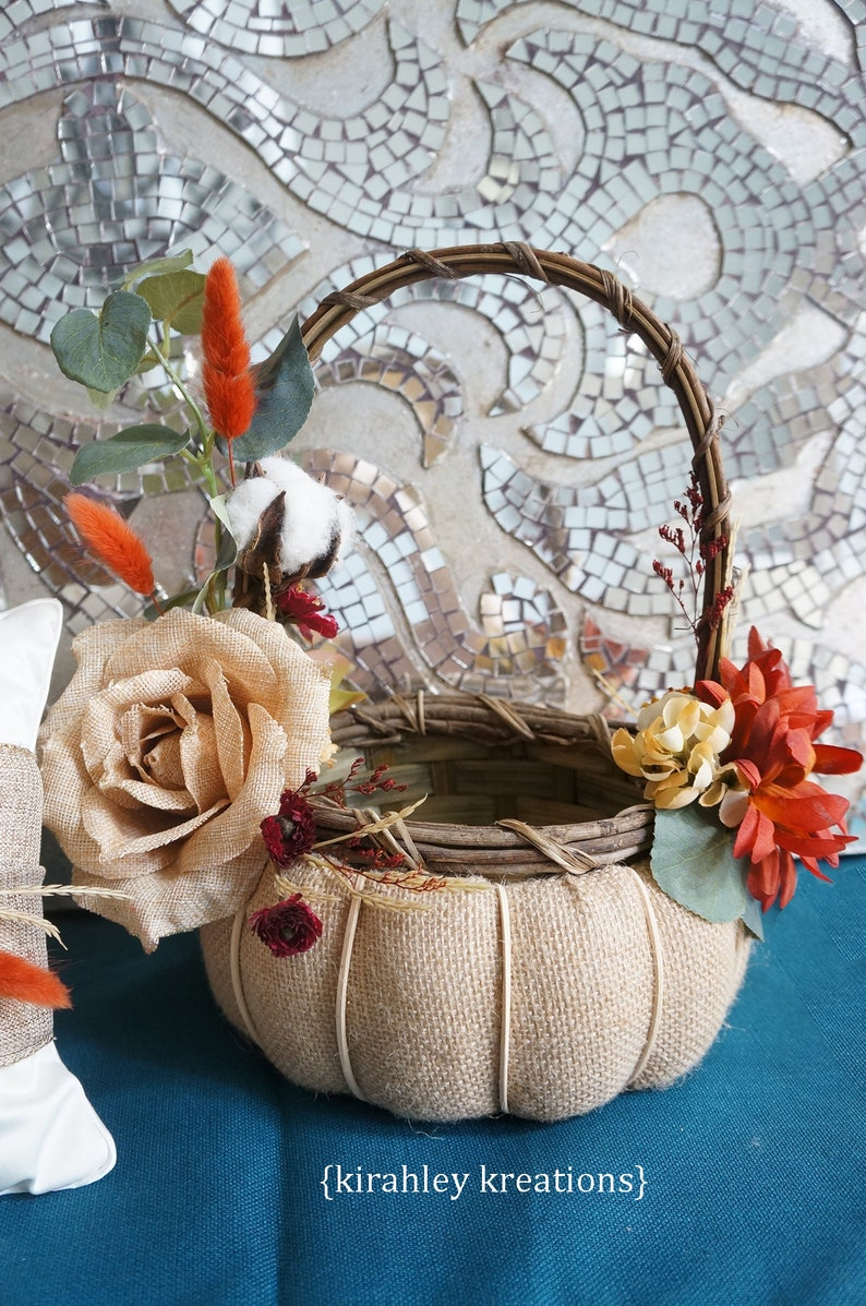 495c5f4c05e BURLAP PUMPKIN Basket Wedding Card Envelope Money Holder