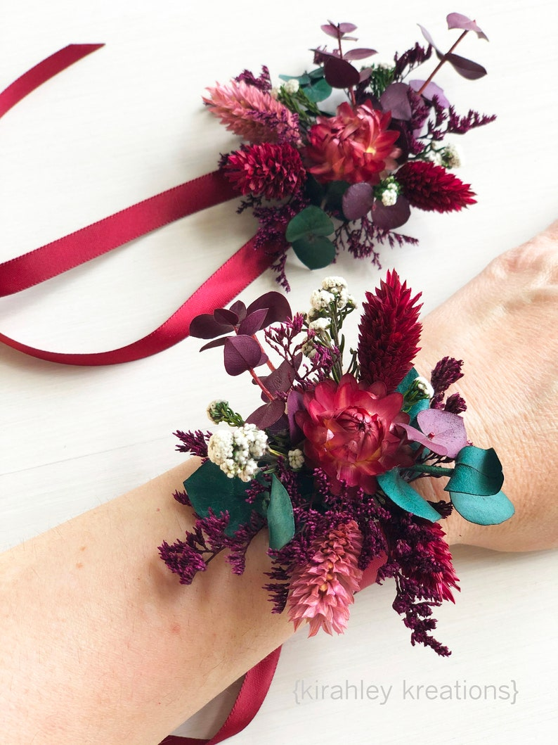 Burgundy Wine Flower Wrist Corsage Bridal Corsage Prom Bridesmaids Flower Accessory Bouquet Dried Floral Wristlet Mothers Brooch Pin