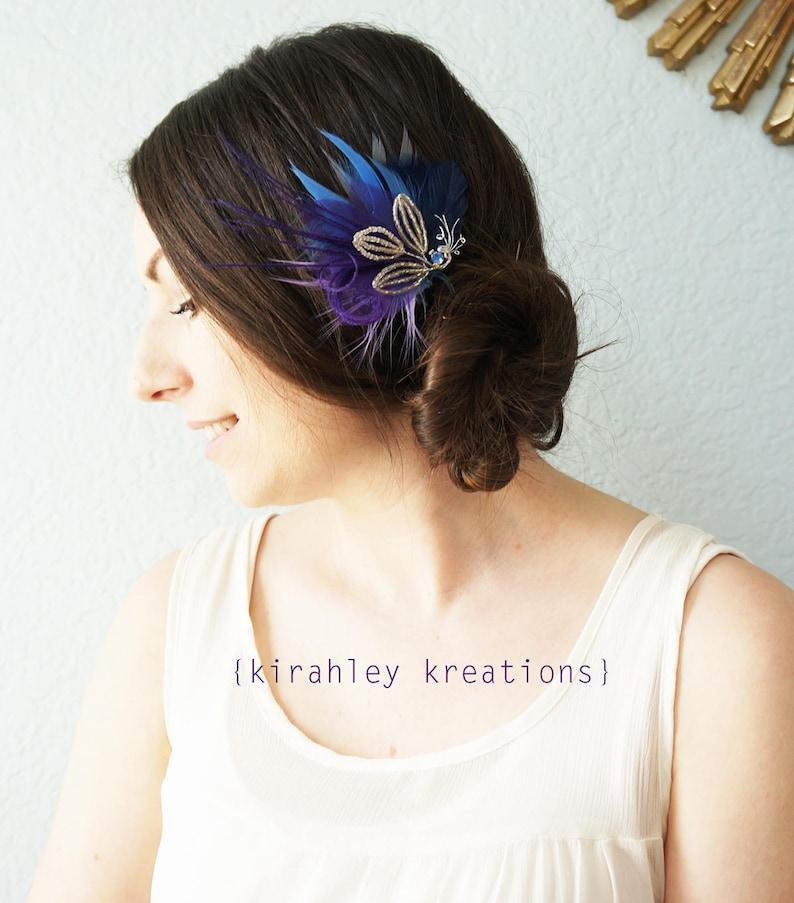Lavender Purple Beaded Leaf Feather Headpiece SHIP READY Blue Rhinestone Wedding Fascinator Bridal Bride Bridesmaid Hair Clip Navy Blue Gray