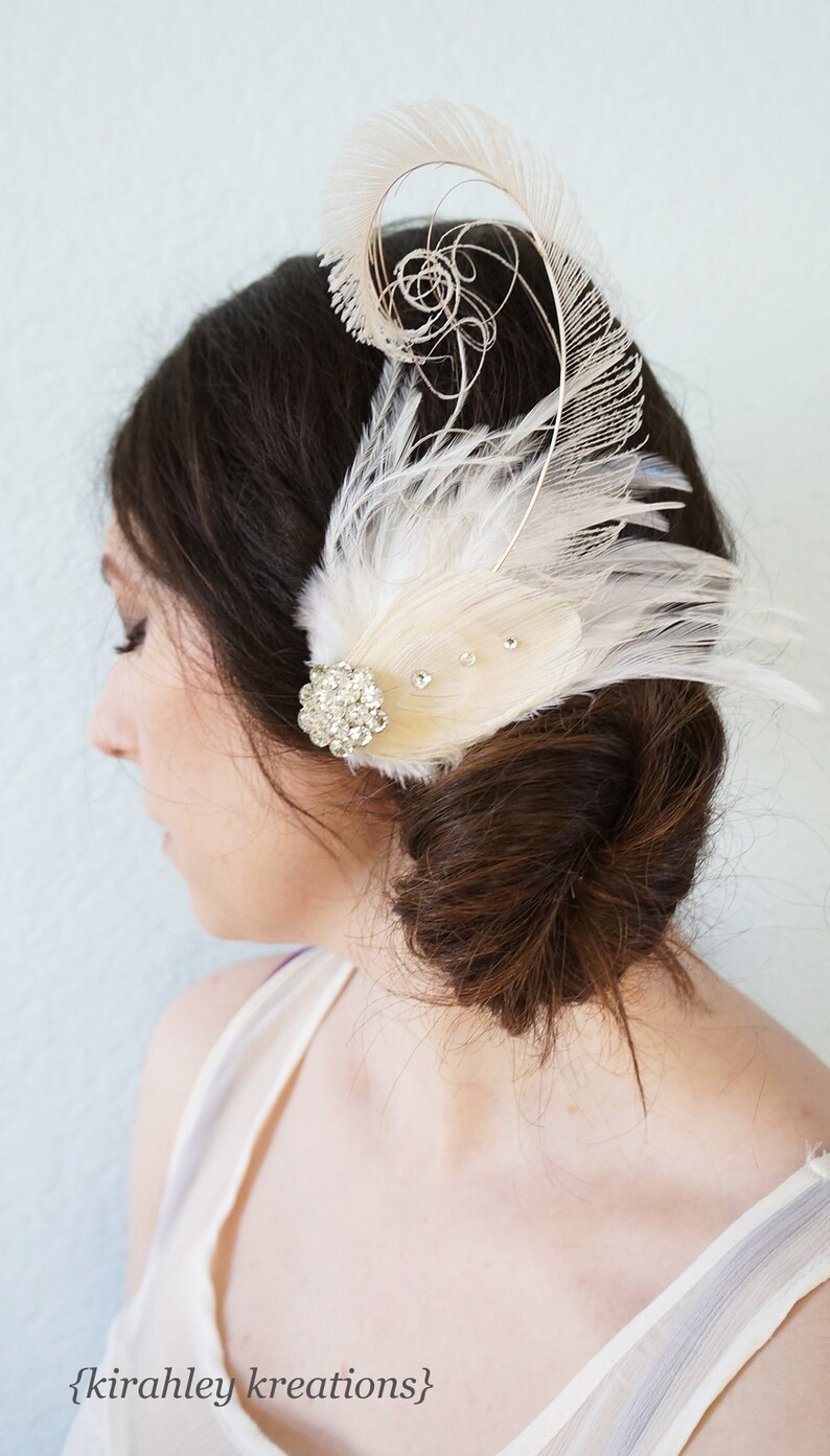 Ivory Great Gatsby Peacock Feather Hair Clip Wedding Bride Rhinestone Headpiece CELESTE Bridal Fascinator Prom Champagne White Custom Colors