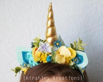 SHIP READY Unicorn Headband Aqua Teal Blue Yellow Gold Flower Horn Headpiece Birthday Party Hat Photo Prop Cake Smash Costume Custom Colors