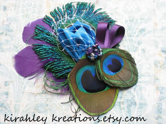 Peacock Purple Teal Sword Feather Birdcage Veil Fascinator CAPRICE Wedding Bridal Bride Bridesmiad Prom Hair Clip Great Gatsby Headpiece