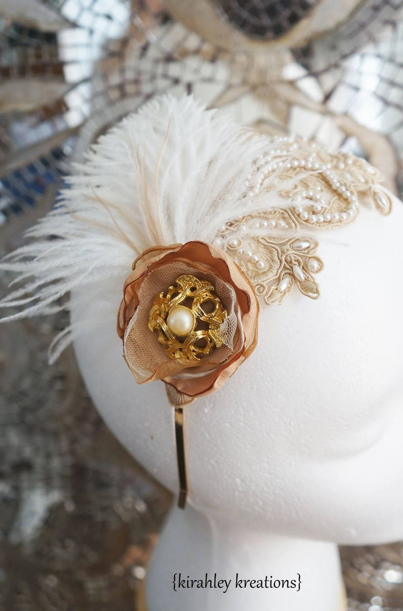 Gold Vintage Pearl Great Gatsby Headband SHIP READY Ostrich Feather Taupe Beige Lace Leaf Applique Wedding Bride Bridal Headpiece Crown