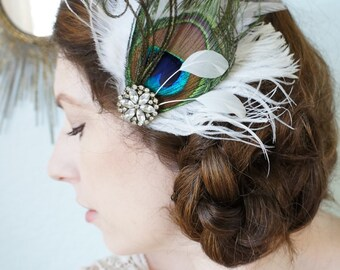 Peacock Feather Wedding Fascinator Gatsby Hair Clip SHAUNY Bridal Bride Prom Headpiece White Ostrich Marabou Vintage Rhinestone Great Gatsby