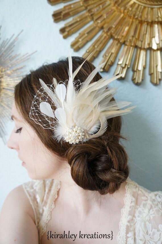 Ivory White Cream Feather Fascinator Bridal Bride CARMEN Veil Hair Clip Vintage Inspired Hairpiece Wedding Birdcage Veiling Pearl Rhinestone