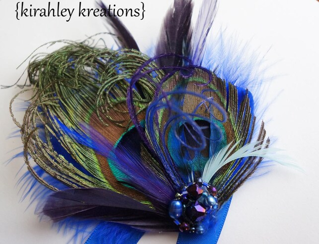Peacock Feather Prom Bridesmaid ADRIENNE Wristlet Corsage Cuff Bracelet Royal Blue Purple Feather Rhinestone Satin Ribbons CUSTOM COLORS