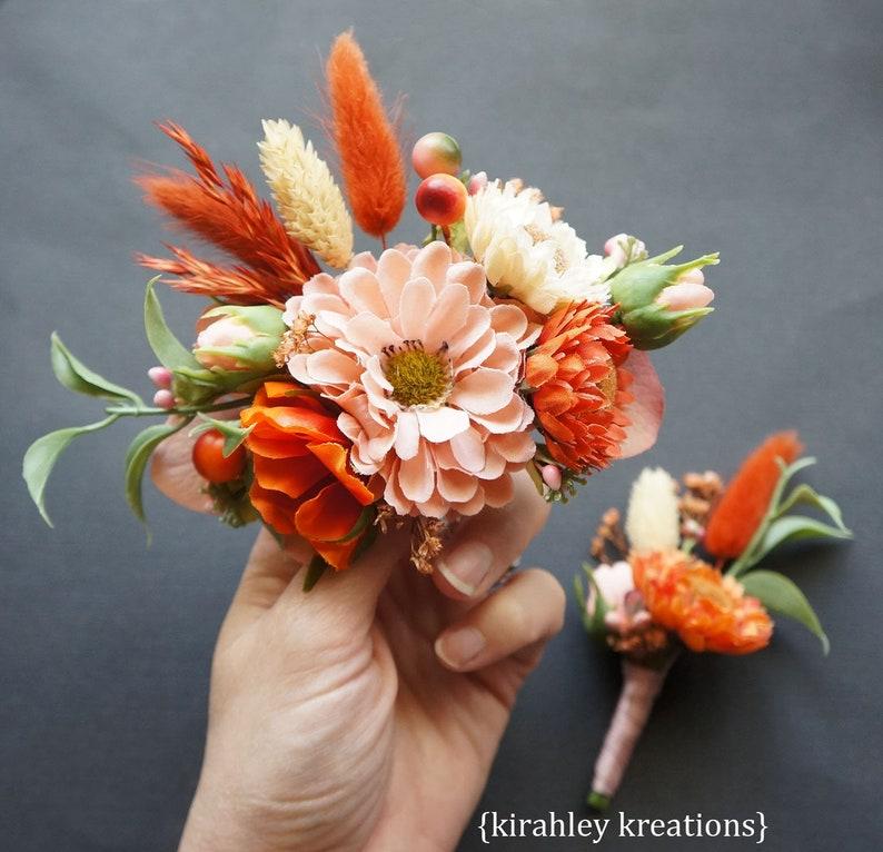 Coral Peach Orange Ivory Flower Hairpiece Bridal Wedding Hair Clip Comb Dried Florals Silk Flowers Green Leaves Berries Bride Fascinator