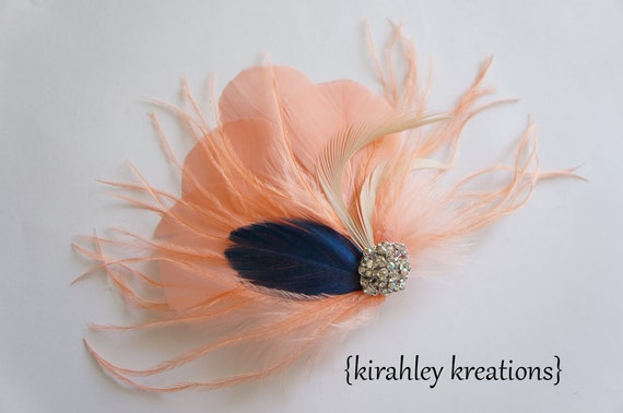 Peach Coral Sapphire Blue Ivory Ostrich Feather Fascinator SASHA Wedding Bride Bridesmaid Prom Hairpiece Hair Clip Iridescent Rhinestone