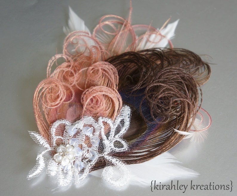 Bronze Dusty Blush Pink Ivory Peacock Feather DALILAH Lace Flower Rhinestone Bride Hair Clip Wedding Prom Fascinator SHIP READY Great Gatsby