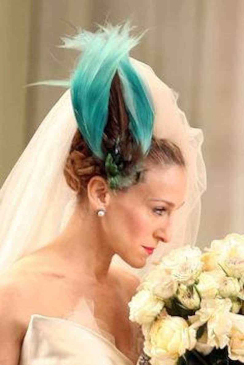 Sex And The City Wedding Feather Headpiece CARRIE Bradshaw SATC Aqua Teal Fascinator Blue Bird Paradise Bridal Bride Hairpiece Hair Clip