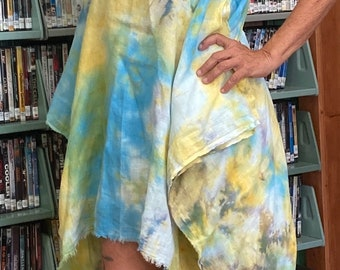 Art dyed linen gauze sexy summer tunic caftan coverup one size