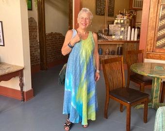 Artist dyed swing maxi dress