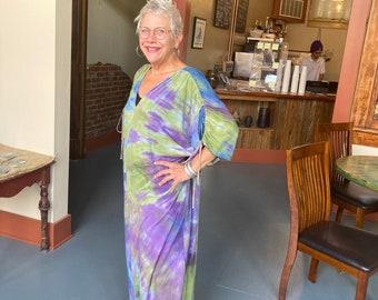 Artist shibori dyed bamboo knit maxi dress
