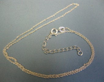 "cable link chain 16"" with an extender to 18"" STERLING SILVER"