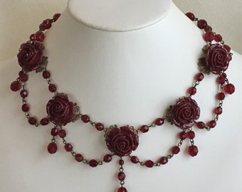 Wine Red Roses Glass and Resin Festoon Necklace