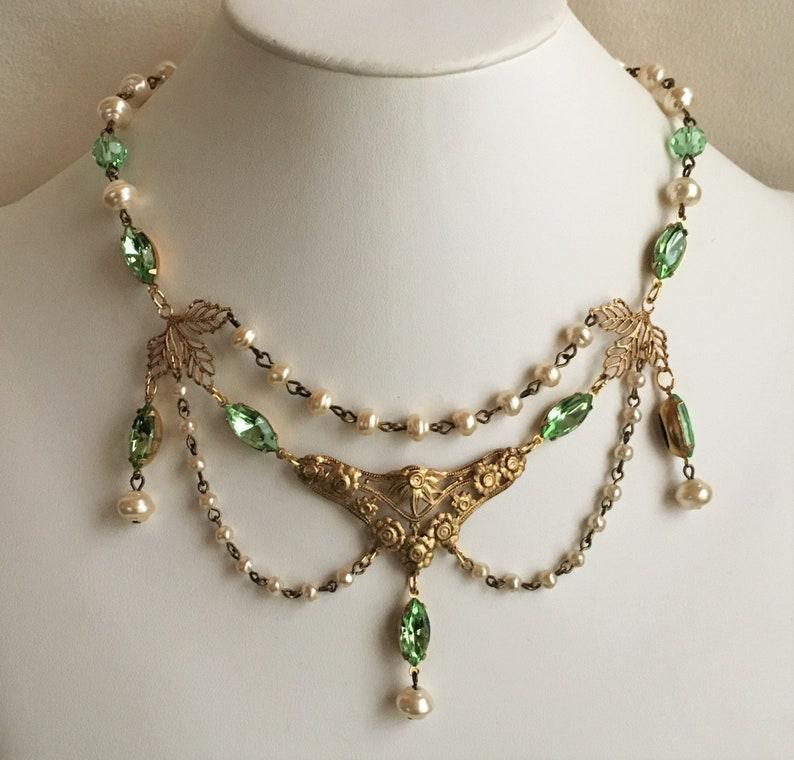 fa8ec779e2db0 Peridot Green Rhinestone, Pearl, and Antique Gold Edwardian or Renaissance  Style Festoon Necklace