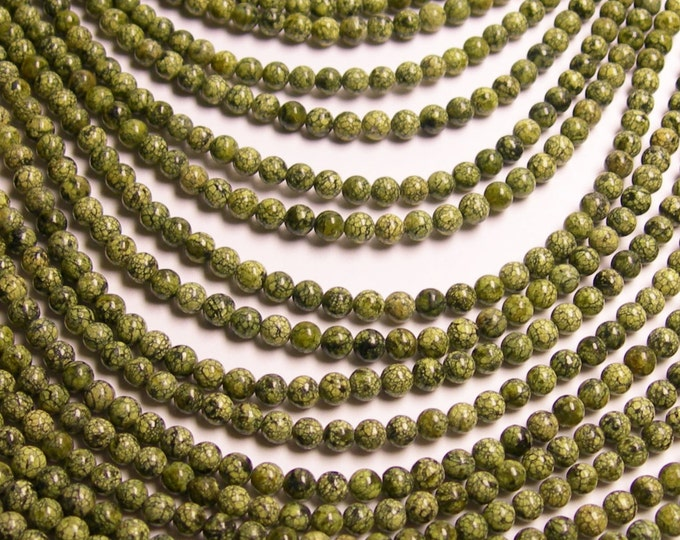 Russian Serpentine - 4 mm round beads -1 full strand - 95 beads - A quality - RFG144