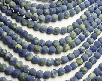 Sodalite matte - 6 mm round beads -1 full strand - 66 beads - A quality - RFG174