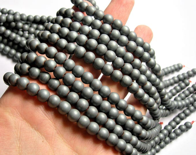 Hematite Matte 8mm(7.6mm) round beads big hole  16 inch strand - 57 beads - matte - Wholesale deal - RFG1250