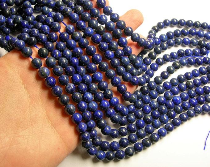 Lapis lazuli 8mm round - full strand  - 48 beads - Dark Lapis - RFG1072