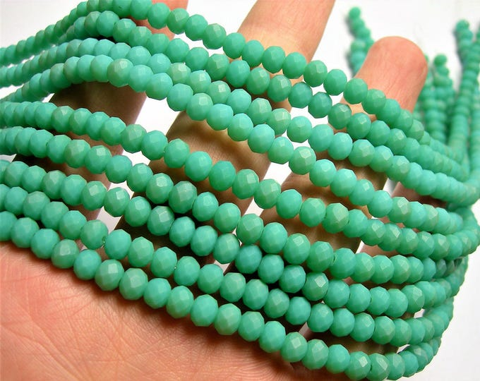 Crystal faceted rondelle 100 beads 6 mm  17 inch strand - Aqua frosted matte - CRV172