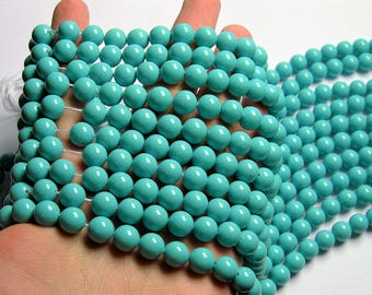 Pearl   10 mm round  Turquoise Pearl  16 inch strand  40 beads - SPT41 - Shell pearl