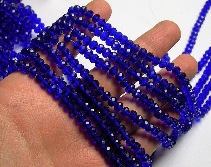 Crystal faceted rondelle -  100 pcs - 6 mm - blue - full strand -CRV174