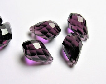 Faceted teardrop crystal briolette beads - 25 pcs - 13mm x 8mm - top sideways drill - Amethyst dark purple - CRTD9