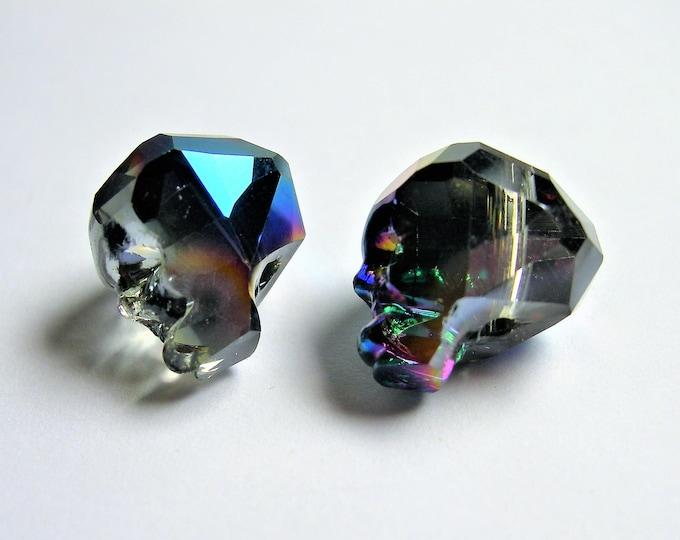 Crystal faceted skull - 2  pcs - 14mm - Mystic rainbow dual tone  - SFB11