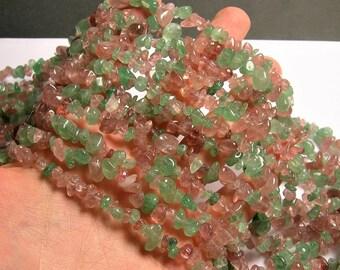Lepidocrocite - chip stone beads - 36 inch - green lepidocrocite - mix color strawberry quartz - PSC379