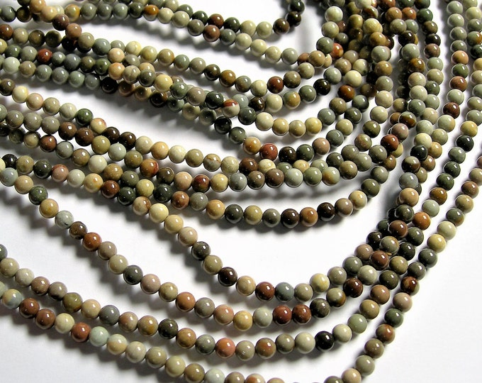 Polychrome jasper - 4mm (4.4mm) round beads - full strand - 90 beads - A quality - Grey polychrome - RFG1279