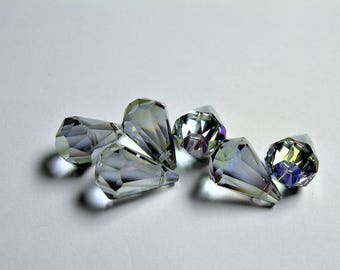 Crystal briolette  - 6 pcs - 11mmx17mm - top sideways drill - Faceted teardrop crystal  beads - AB finish - mystic glacier grey - CBC14